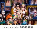 mexican skull figures | Shutterstock . vector #740895754