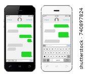 smartphone black and white.... | Shutterstock . vector #740897824