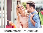 sale  consumerism and people... | Shutterstock . vector #740901031