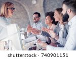 group of business people having ... | Shutterstock . vector #740901151