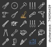 construction tools chalk icons... | Shutterstock .eps vector #740904439