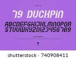 oblique stencil alphabet... | Shutterstock .eps vector #740908411