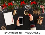 christmas online shopping.... | Shutterstock . vector #740909659
