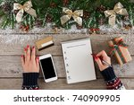 christmas wish list writing.... | Shutterstock . vector #740909905