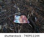 ten euros banknote lying on the ...   Shutterstock . vector #740911144