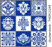 collection of 9 ceramic tiles... | Shutterstock .eps vector #740911249