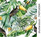 seamless watercolor...   Shutterstock . vector #740916064