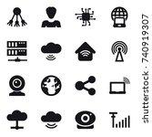 16 vector icon set   share ... | Shutterstock .eps vector #740919307