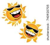 bright smiling happy sun... | Shutterstock .eps vector #740920705