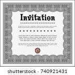 grey retro invitation. elegant... | Shutterstock .eps vector #740921431
