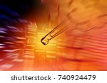 laboratory glassware and dna... | Shutterstock . vector #740924479