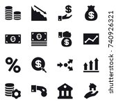 16 vector icon set   coin stack ... | Shutterstock .eps vector #740926321