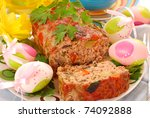 homemade meatloaf with zucchini,mushroom,pepper,carrot and onion for easter`s dinner - stock photo
