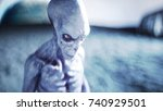 alien on planet  moon. earth on ... | Shutterstock . vector #740929501