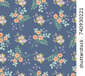 simple cute pattern in small... | Shutterstock .eps vector #740930221