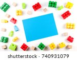 colorful wooden cubes and... | Shutterstock . vector #740931079