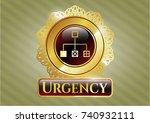 golden badge with flowchart... | Shutterstock .eps vector #740932111