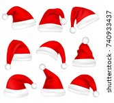 christmas santa claus hats set. ... | Shutterstock .eps vector #740933437