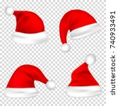 christmas santa claus hats set. ... | Shutterstock .eps vector #740933491