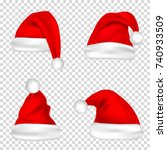 christmas santa claus hats set. ... | Shutterstock .eps vector #740933509