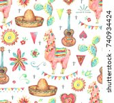 mexican watercolor seamless... | Shutterstock . vector #740934424