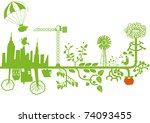 vector   green city under... | Shutterstock .eps vector #74093455
