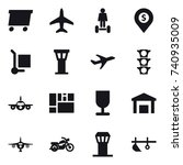 16 vector icon set   delivery ... | Shutterstock .eps vector #740935009