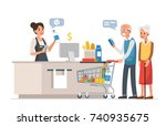 retail woman cashier with... | Shutterstock .eps vector #740935675
