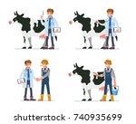 cow veterinarian character and... | Shutterstock .eps vector #740935699