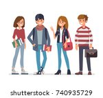 group of young students. flat... | Shutterstock .eps vector #740935729