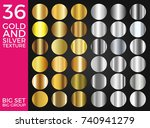 vector set of gold and silver... | Shutterstock .eps vector #740941279