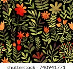 watercolor floral seamless... | Shutterstock . vector #740941771