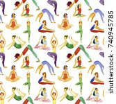 yoga  pattern icons art web... | Shutterstock . vector #740945785