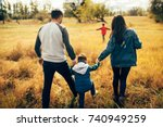 happy family and they sons... | Shutterstock . vector #740949259