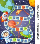 board game with cosmonaut  ufo  ... | Shutterstock .eps vector #740950909