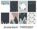 merry christmas card set ... | Shutterstock .eps vector #740952007