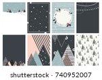 merry christmas card set ... | Shutterstock .eps vector #740952007