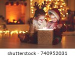 merry christmas happy children... | Shutterstock . vector #740952031