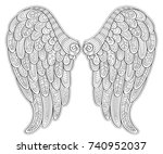 angel wings in zentangle style... | Shutterstock .eps vector #740952037