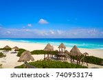 cancun playa delfines beach in... | Shutterstock . vector #740953174