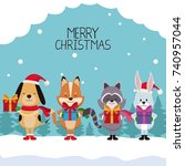 merry chrismtas card cartoon | Shutterstock .eps vector #740957044