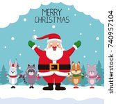merry chrismtas card cartoon | Shutterstock .eps vector #740957104