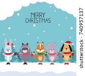 merry chrismtas card cartoon | Shutterstock .eps vector #740957137