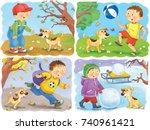 four seasons. spring  summer ... | Shutterstock . vector #740961421