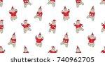 bear polar dance christmas...   Shutterstock .eps vector #740962705