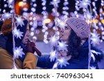 friends enjoying christmas...   Shutterstock . vector #740963041