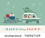 happy holidays party poster....   Shutterstock .eps vector #740967139