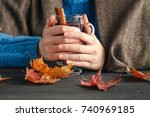warm cup of hot mulled wine... | Shutterstock . vector #740969185