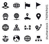 16 vector icon set   pointer ... | Shutterstock .eps vector #740969641
