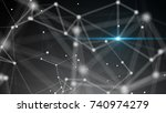 abstract connection dots with... | Shutterstock . vector #740974279